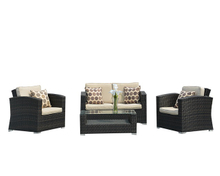 PAS-068B/4PC Outdoor Furniture Patio and Garden Rattan Conversation Sofa Set