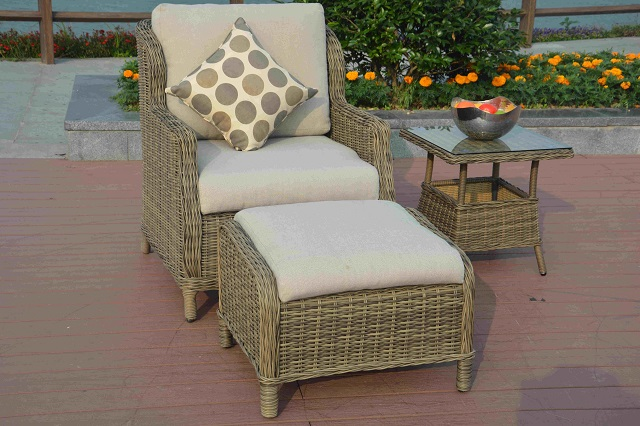 PAD-1615/ 5PC Leisure Aluminum Rattan Bistro Dinning Set with 2 Ottomans