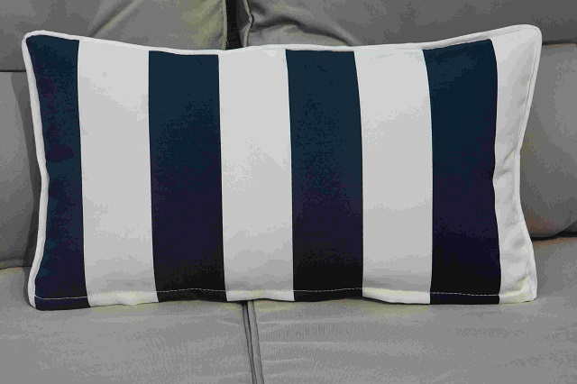 Cushion-7/White Striped Rectangular Back Cushion