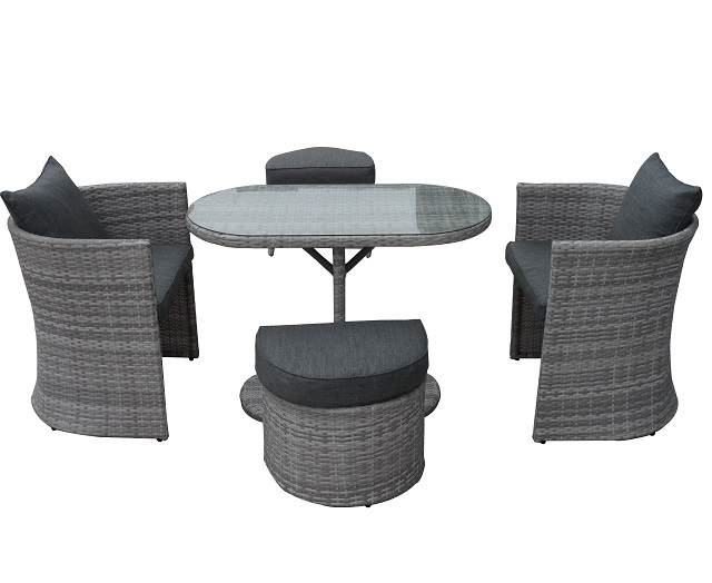 PAD-1278/Space-saving Dining Table Patio Wicker Chair Furniture Set with 2 Ottoman
