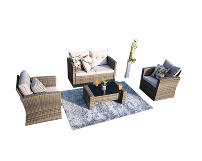 PAS-1125/4PC Detachable Modern Outdoor Rattan Furniture All Weather Sofa Set