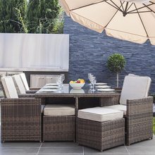 Latest Rattan Garden Wicker Patio Outdoor Dining Table with Ottomans
