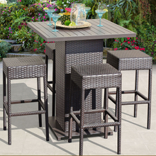 PE Rattan Garden Restaurant Dining Bar Stool Dining Sets