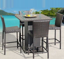 Cheap Outdoor Wicker Dining Bar Set Table and Chairs