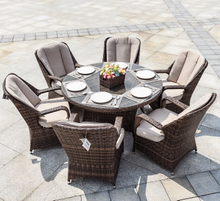 6 Seat Garden Rattan Table and Chairs for Restaurant