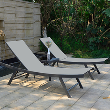 Economical Outdoor Poolside Steel Sunbed with Table