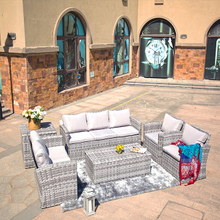 Wide Rattan Series All Weather Patio Wicker Sofas with Cushion Box Table